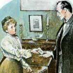 Sherlock Holmes gets more information from John McFarlane's mother.